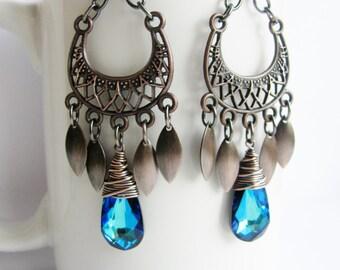 Exotic Bermuda Blue Copper Chandelier Earrings