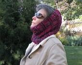 Women's hood hat, knit cowl scarf neckwarmer, winter soft wool, stretch wide headband dread head wrap, purple plum magenta pink crochet i624