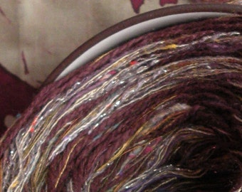 Yarn: plum cotton worsted 200 yards 2 skeins Arabian Nights, purple brown tan gold sparkly knitting lot, Life's an Expedition, dj runnels