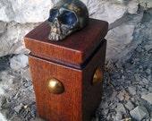 Miniature Bronze Skull on Mahogany Pedestal 2