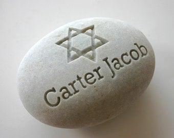 Custom Engraved Memorial White Stone Birth Stone Print Personalized Jewish Star