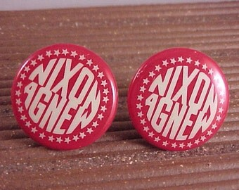 Nixon Agnew Political Campaign Button Cuff Links Free Shipping to USA