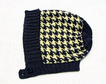 Fall/Winter Hand Knit  Hat Bonnet  -  Houndstooth Intarsia / Jacquard - Italian Wool Tweed Yarn
