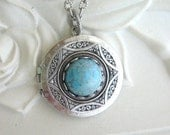 Turquoise Necklace, Turquoise Locket, Blue Moon, Silver Locket Necklace, Pendant, Gift for Her, Celtic Jewelry, Celtic Necklace