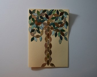 Rainforest Tree Note Card, Original Hand Cut Vintage Wallpaper, OOAK, Stained Glass Mosaic Leaves, Arts and Crafts, Friendship, Green Gold