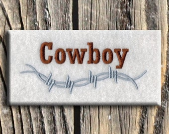 Barbed Wire Cowboy Embroidery Design