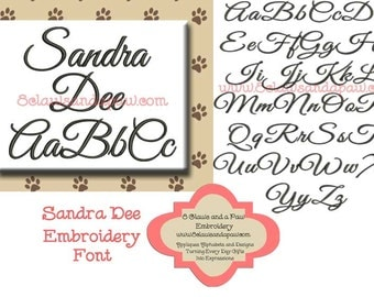 Sandra Dee Embroidery Font Includes 5 Sizes