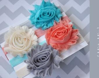 Set of 4, Baby Headbands { Misty Mix} Peach, gray, cream, aqua Shabby Headband, newborn baby girl photography prop
