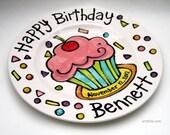 "10"" Happy Birthday cupcake personalized Plate custom ceramic"