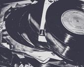 Black & White Vinyl Records Fine Art Print