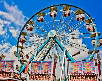 Ferris Wheel and Ticket Booths Carnival Fair Fine Art Print- Carnival Art, County Fair, Nursery Decor, Home Decor, Children, Baby, Kids