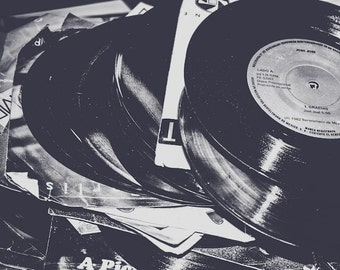 Black & White Vinyl Records Fine Art Print- Vintage, Nostalgic, Home Decor, Photography, Gift, Zen