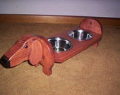 Dachshund elevated dog feeder, hand crafted choice of Red Doxie or Black/tan Doxie please specify when ordering