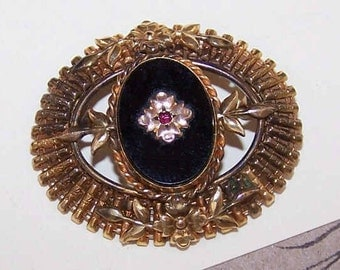 EDWARDIAN REVIVAL 1950s Gold Filled, Onyx & Rhinestone Pin/Brooch by Carl-Art