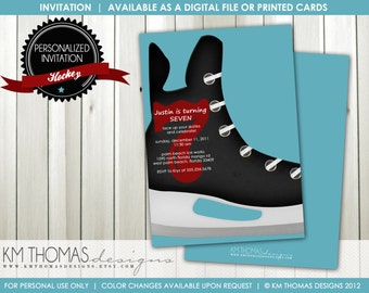 Hockey Birthday Invitation : Boys Ice Skating Birthday Invitation - Ice Skating Party Invitation - Hockey Skate - Printable Invite - BD114