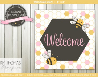 INSTANT DOWNLOAD - Bumble Bee: Welcome Sign and Happy Birthday Sign - Item 122