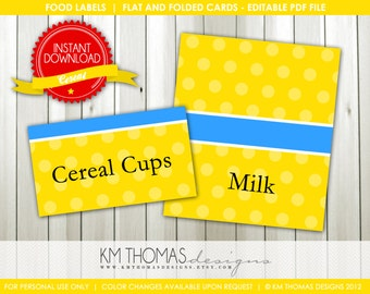 INSTANT DOWNLOAD - Cereal: Food Labels Buffet Cards  - Item 121