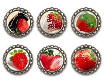 Set of 6 Bottle Caps Refrigerator Magnets , Art Paper Magnets, Bottle Caps Magnets, Fridge Magnets, Kitchen Magnets
