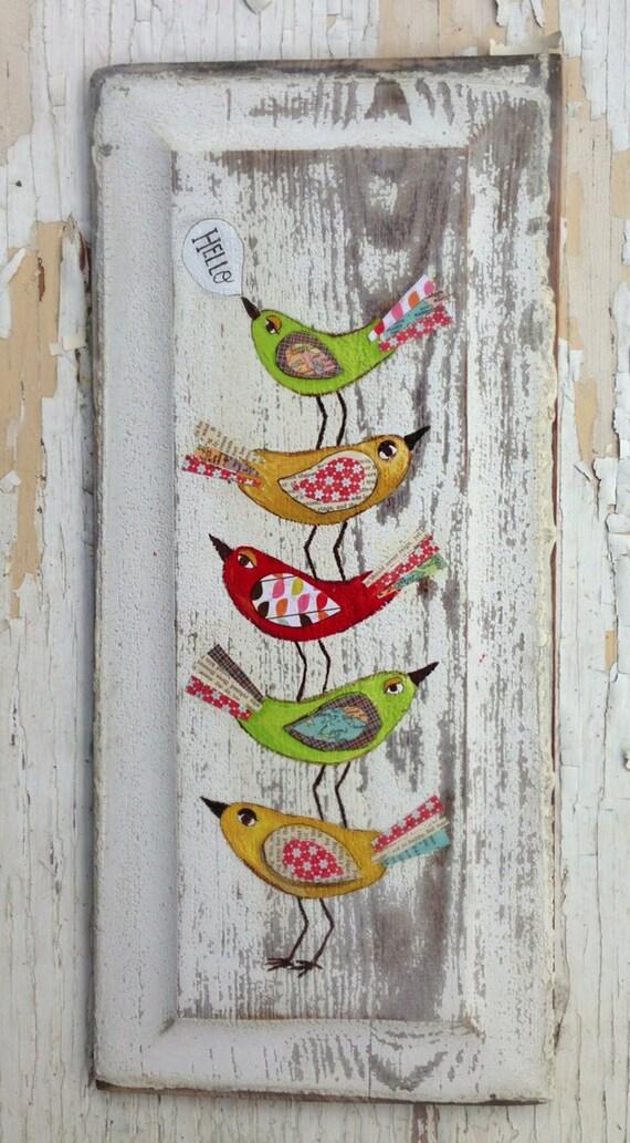 Hello birds original painting folk art for Peinture mural original