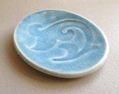 Blue Tea Bag Holder or Spoon Rest, Crackle Glaze, Little Ceramic Dish, Handmade Wee Plate