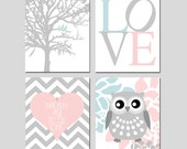Baby Girl Nursery Art - Love, Birds in a Tree, Floral Owl, Dream Big Little One Chevron Heart Set of 4 Prints - Choose Your Size and Colors