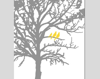 Three Birds in a Tree Nursery Art - 11x14 Print - Bird Family - Choose Your Colors - Shown in Gray, Yellow, Light Pink, and More