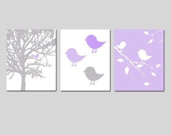 Baby Girl Nursery Art - Modern Bird Trio - Set of Three 8x10 Prints - Nursery Decor - CHOOSE YOUR COLORS - Shown in Lavender, Gray, and More