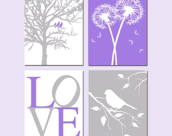 Purple Gray Grey Nursery Art - Set of Four 8x10 Nature Prints - Love, Birds in a Tree, Dandelions, Bird on a Branch - CHOOSE YOUR COLORS