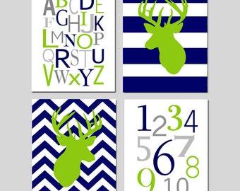 Navy Blue Lime Green Nursery Art - Chevron Deer, Striped Deer, Alphabet, Numbers - Set of Four 11x14 Prints - CHOOSE YOUR COLORS