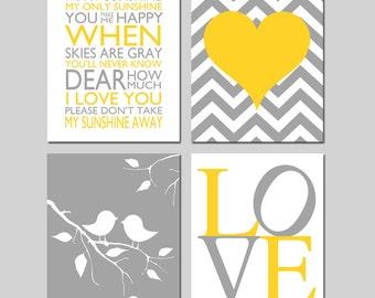 Kids Wall Art - Nursery Art Quad - Set of Four 11x14 Prints - You Are My Sunshine, LOVE, Baby Birds on a Branch, Chevron Heart