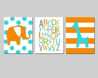 Elephant Giraffe Nursery Art Trio - Polka Dot Elephant, Alphabet, Stripe Giraffe - Set of Three 8x10 Prints - CHOOSE YOUR COLORS