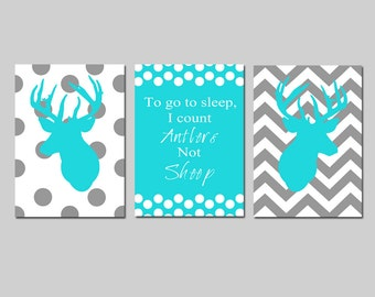 Baby Boy Nursery Art Trio - Set of Three 5x7 Prints - To Go To Sleep, I Count Antlers Not Sheep Quote, Chevron Deer - Choose Your Colors