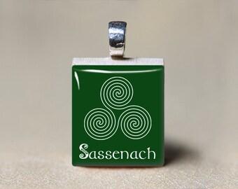 Sassenach Scrabble Tile Pendant, Sassenach Jewelry, Celtic Labyrinth, Celtic Necklace, Celtic Jewelry, Gaelic