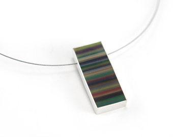 Lined Up Cable Necklace sterling silver with multicolored striped resin fall autumn