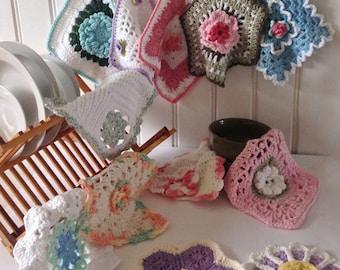 Floral Dishcloth Set Crochet Pattern PDF