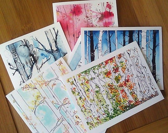 Blank Cards, Birch Trees, Woodland, Greeting Cards, Blank Notecards, Cards, Boxed Cards, Forest Mixed Set of 6, Gift for Her, Nature Lover