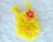 Yellow Baby Girl Romper, Newborn Romper with Flower, Newborn Photo Props