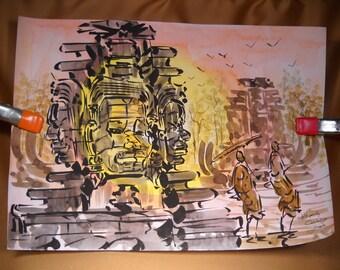 WATERCOLOR of ANGOR WAT, Orignal Watercolor Painting by Cambodian artist, Asian art, Cambodian Art, Cambodian Painting of Angor Wat Picture
