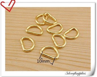 3/8 inch  (1cm ) Gold Non welded  D-ring  purse bag making supplies 40pcs AC120