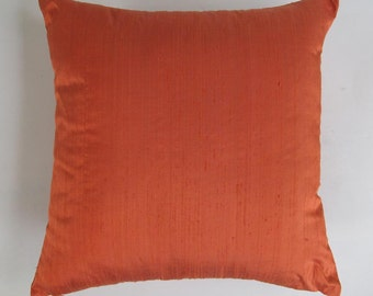 dark orange dupioni silk pillow  decorative pillow cover. on sale cushion  cover.16 inch. discount. 2 in stock.