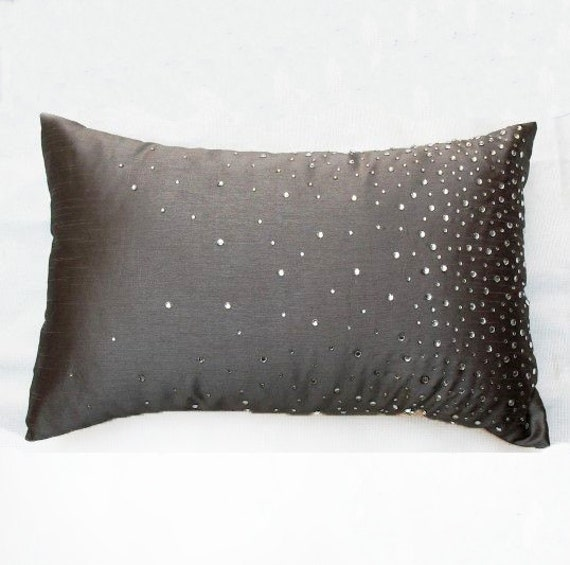 glitzy gray pillow cover 12X16 embellished with stone detailing