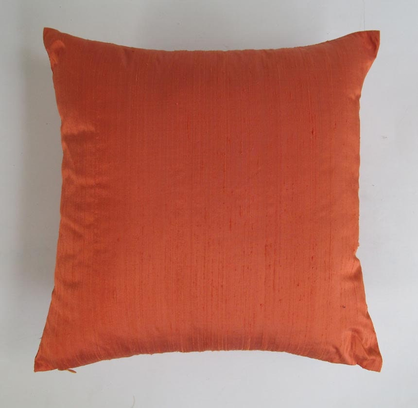 Dark Orange Dupioni Silk Pillow Decorative Pillow Cover. On