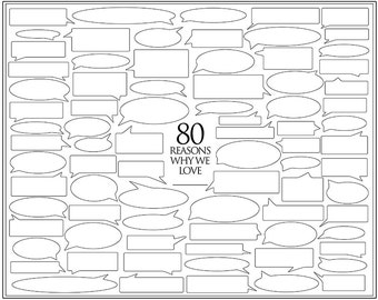 Personalized Birthday Present – 80 Reasons We Love You – Template for Print or Editing – Photoshop Template – 80th Birthday