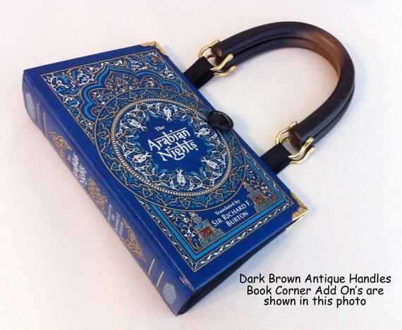 Arabian Nights Book Purse - Ali Baba and the Forty Thieves Book Cover Purse - Aladdin's Lamp Book Clutch