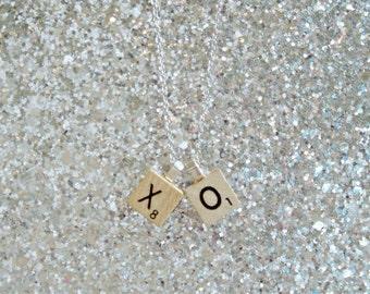 Initial Pendant - Initial Jewelry - Mini Letter Charm - Travel Scrabble Game Tile Pendant