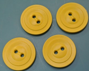 Lot of 4 vintage 1950s unused strong yellow plastic buttons for your sewing/decoration prodjects
