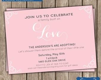 Adoption Baby Shower Invitation - Baby Girl Shower Invitation - Digital - Printable - Invitation - BS91