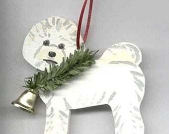 Hand-Painted BICHON FRISE Wood Christmas Ornament...Artist Original, Christmas Tree Ornament Decoration