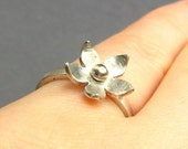 Sterling Silver Flower Ring - Sterling Silver Stacking Ring - Ready To Ship Ring Size 5