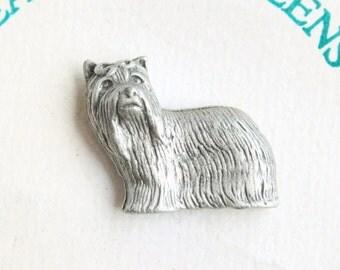 Yorkshire Terrier Dog Pin Vintage Figural Yorkie Pewter Tie Tac Pin
